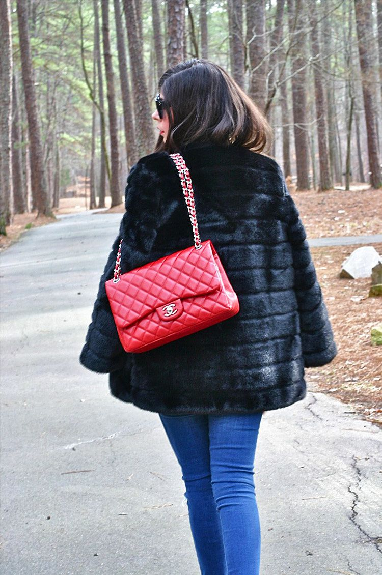 Glam Faux Fur Mink Coat and Pony Hair Slip Ons