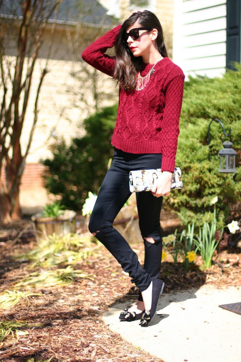 Maroon Sweater and Ripped Jeans