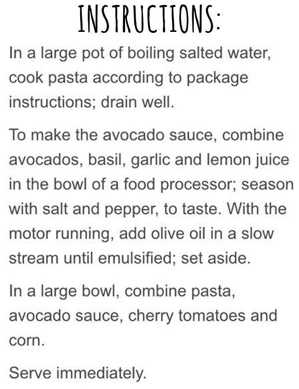 Avocado Pasta Recipe!
