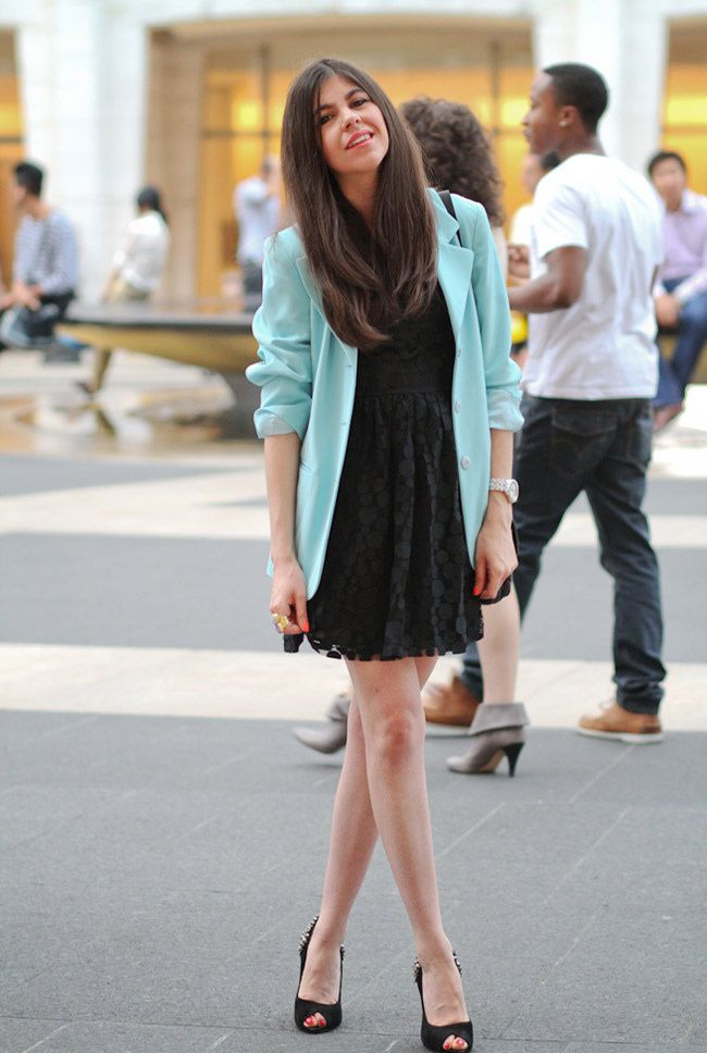 GET THE LOOK | Blue Blazer, Lace Dress, Studded Heels OOTD!