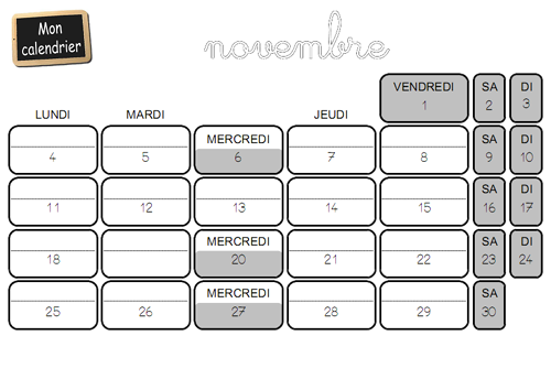 Structuration du temps grande section : calendrier novembre 2013