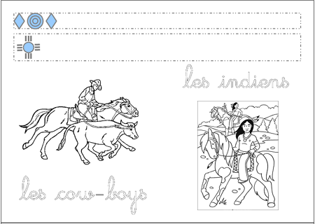 Graphismes et calligraphie &quot&#x3B;les cow-boys et les indiens&quot&#x3B;