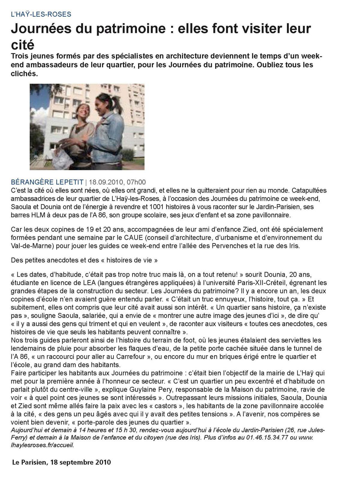 Journées du Patrimoine 2010...nous, on était là ! (Le Parisien, 18 septembre 2010)