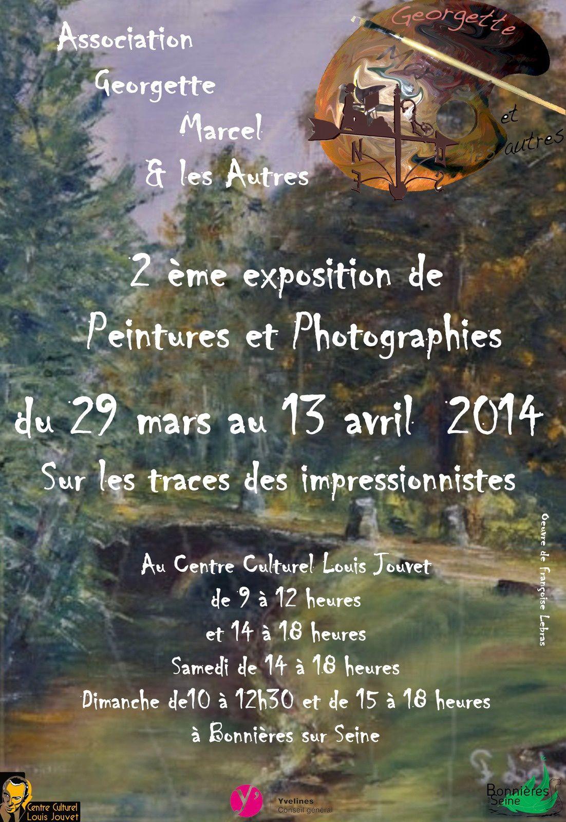 Les tableaux des peintres qui sont allés peindre sur les traces des impressionnistes seront exposés au centre culturel de Bonnières sur seine du 29 mars au 6 avril, peuis du 7 au 13 avril les lauréats de l'an dernier, qui sont au nombre de 3, vous proposerons leus oeuvres...