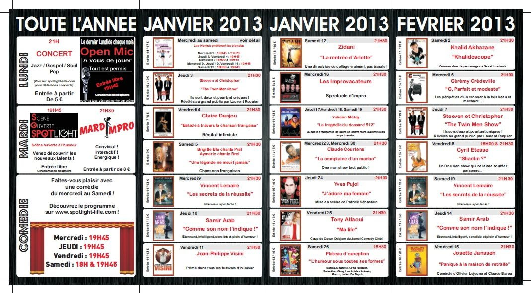 Spotlight - programme 2013 Janv / Fév / Mars