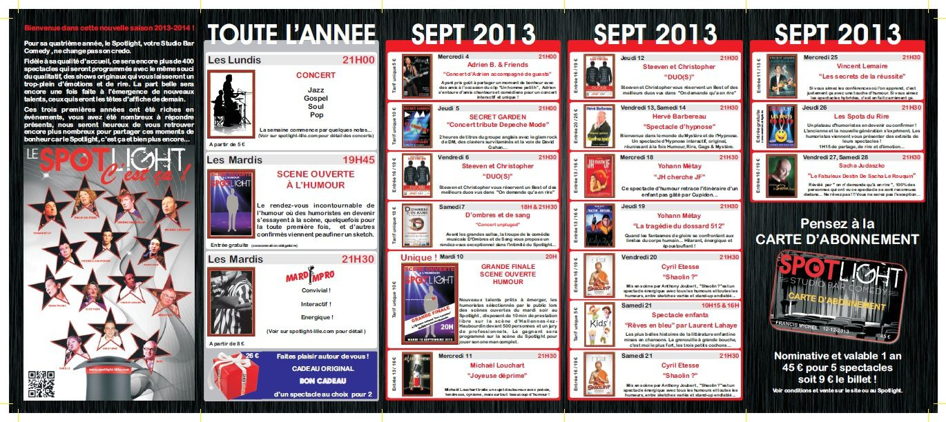 Spotlight - programme 2013 sept / oct / nov