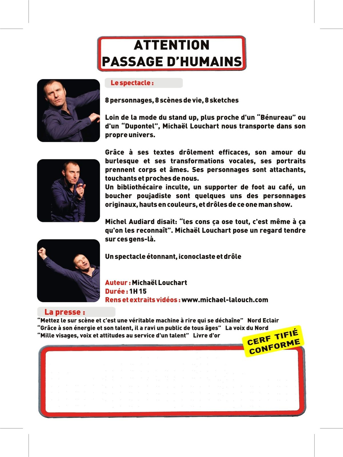 Passage d'humains Flyer - Michaël Louchart