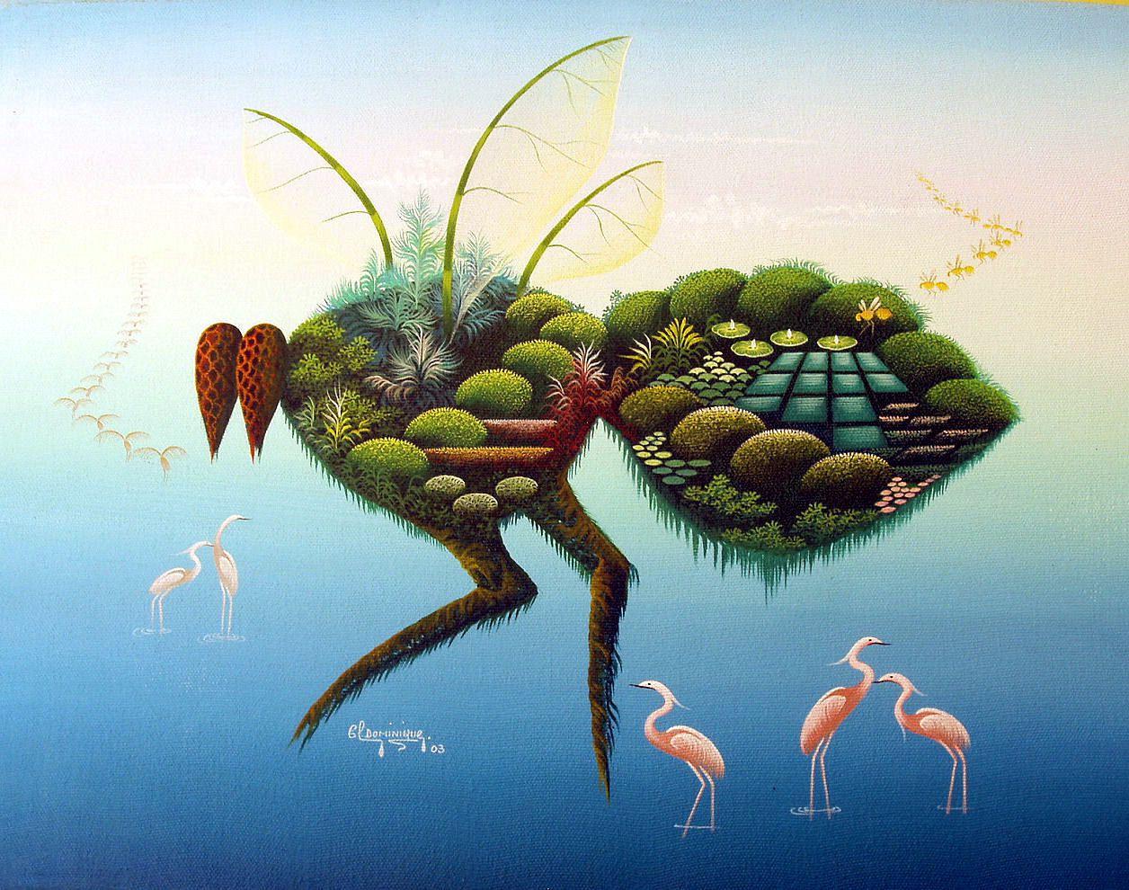 """Ma """"mouche"""" préférée ! Tableau de Clotaire Dominique, peintre Haïtien né le 26 décembre 1971 à Deschapelles, département de l'Artibonite"""