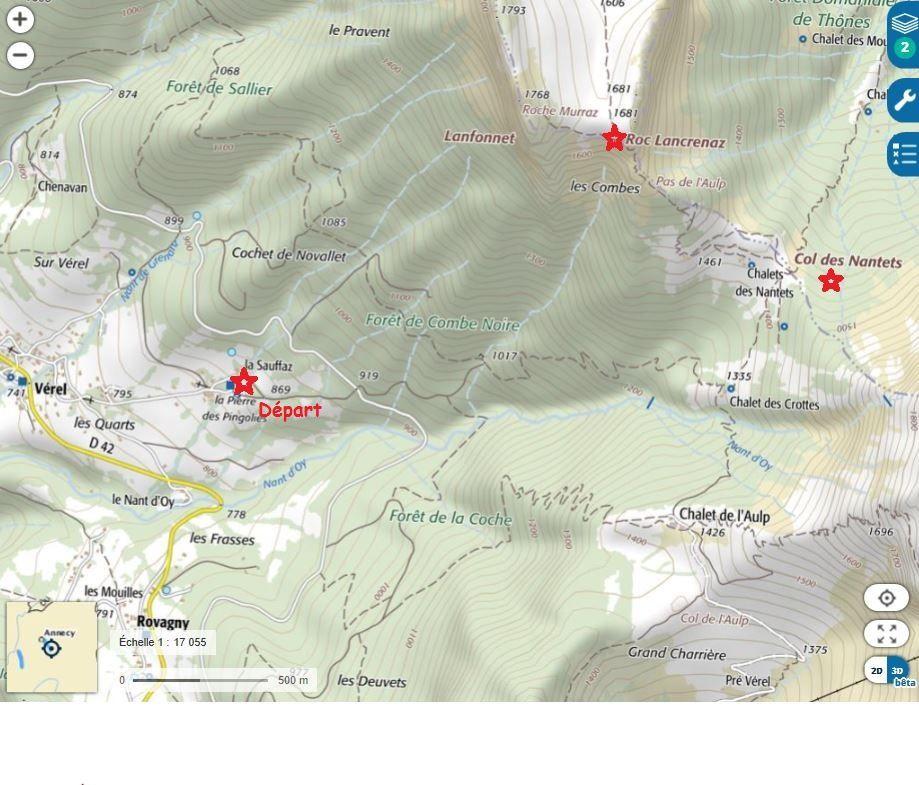 Carte IGN 3431 OT Lac d'Annecy - Itinéraire de la randonnée