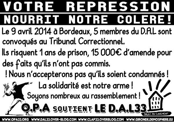 [Bordeaux - 9 avril] Soutien aux 5 prévenu-e-s du D.A.L33