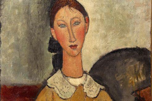 Les visages peints par Modigliani sont caractéristiques .