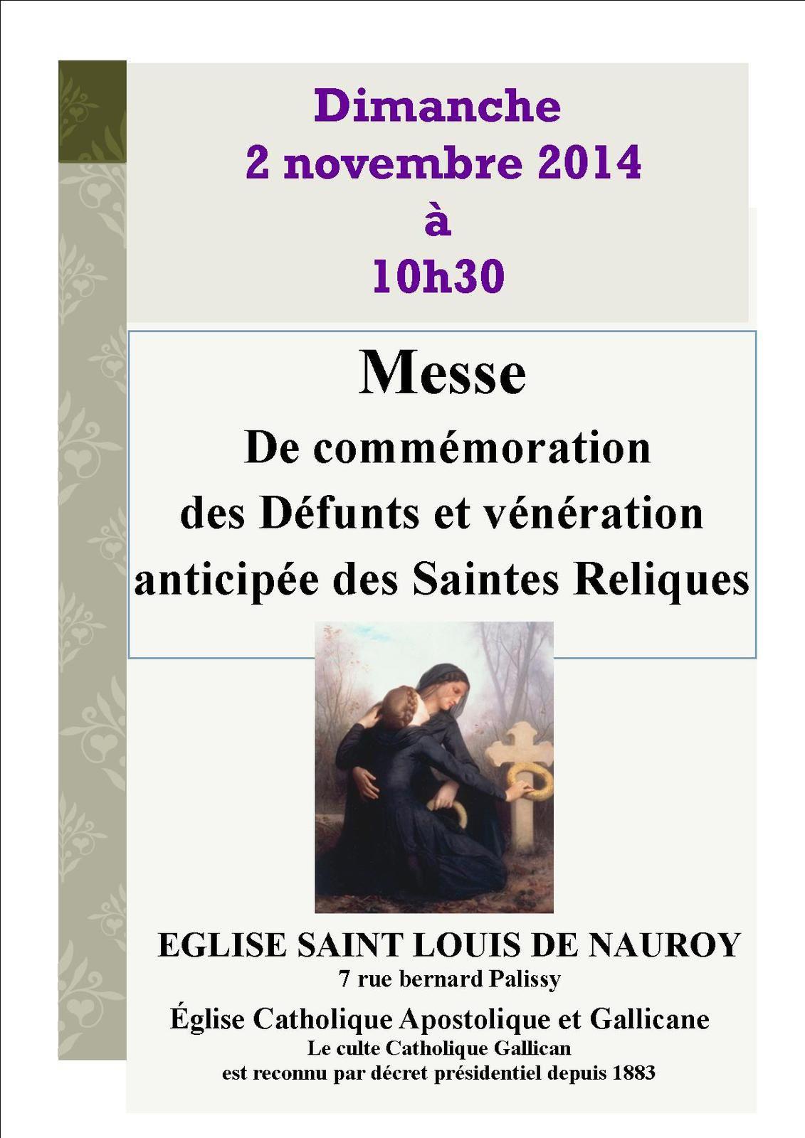 Messe des Défunts et vénération des Saintes Reliques dimanche 2 novembre à l'église de Nauroy