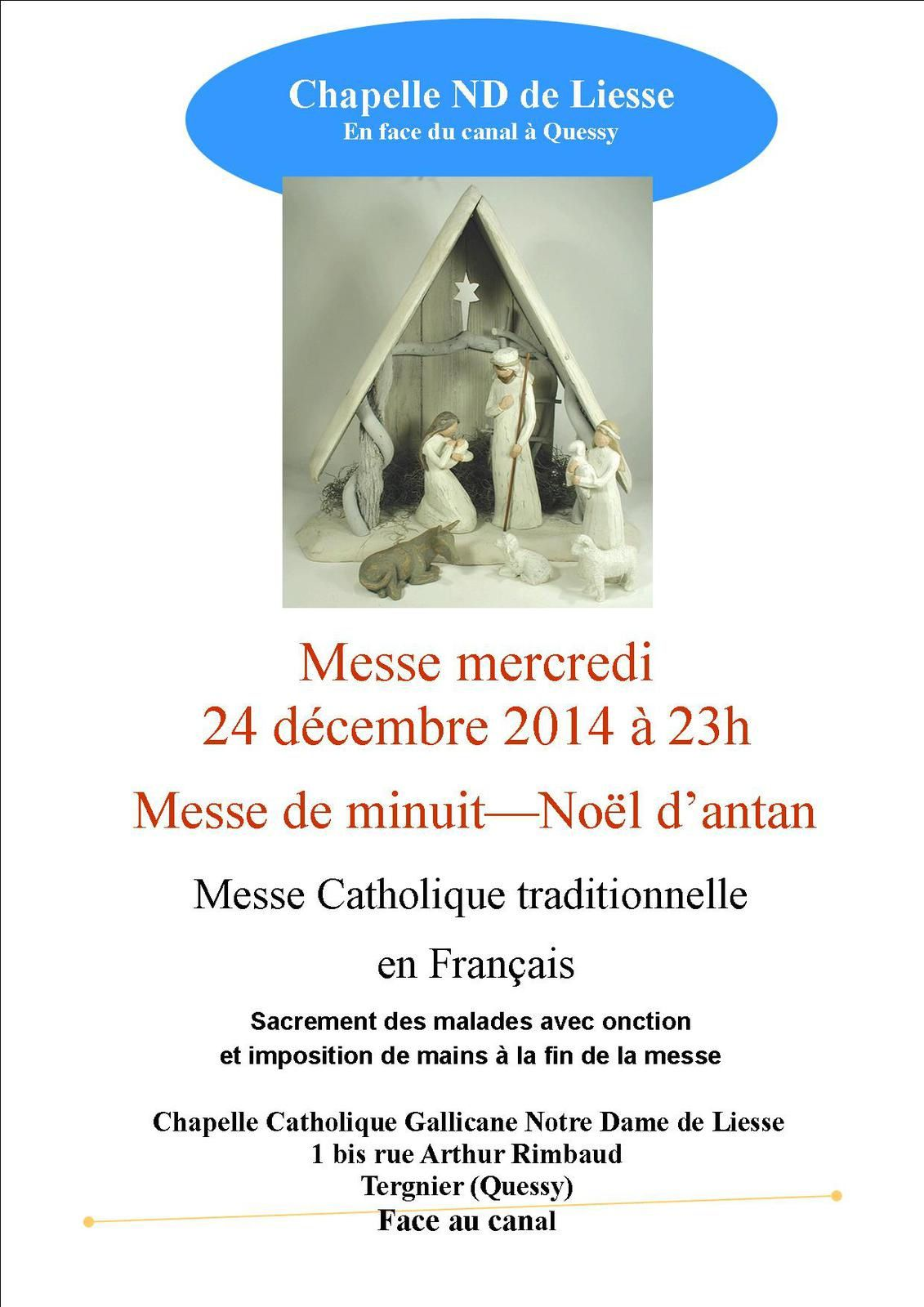 Messe de Minuit : chapelle Catholique Gallicane de Tergnier