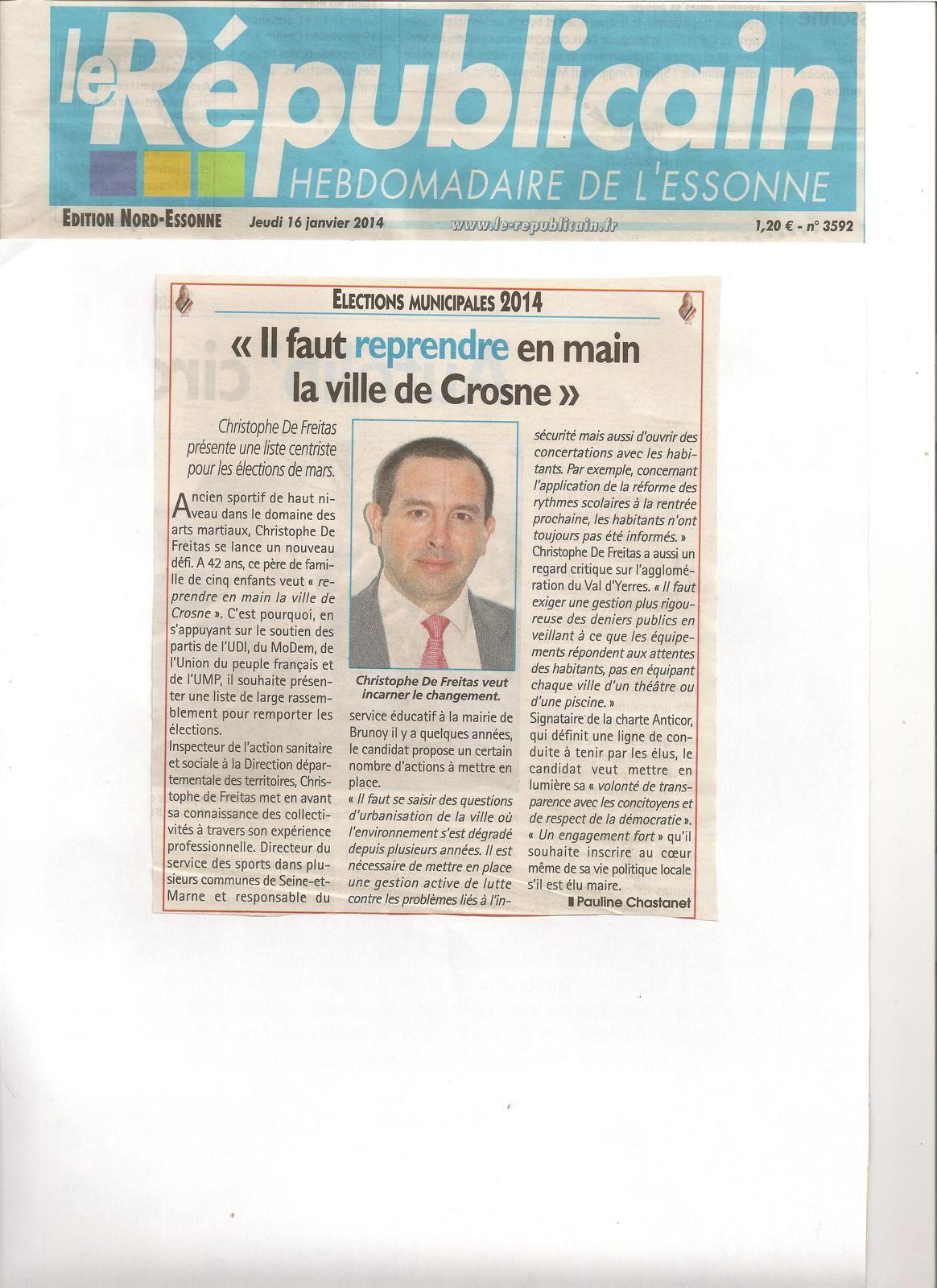Article du Républicain du 16 janvier 2014 n° 3592