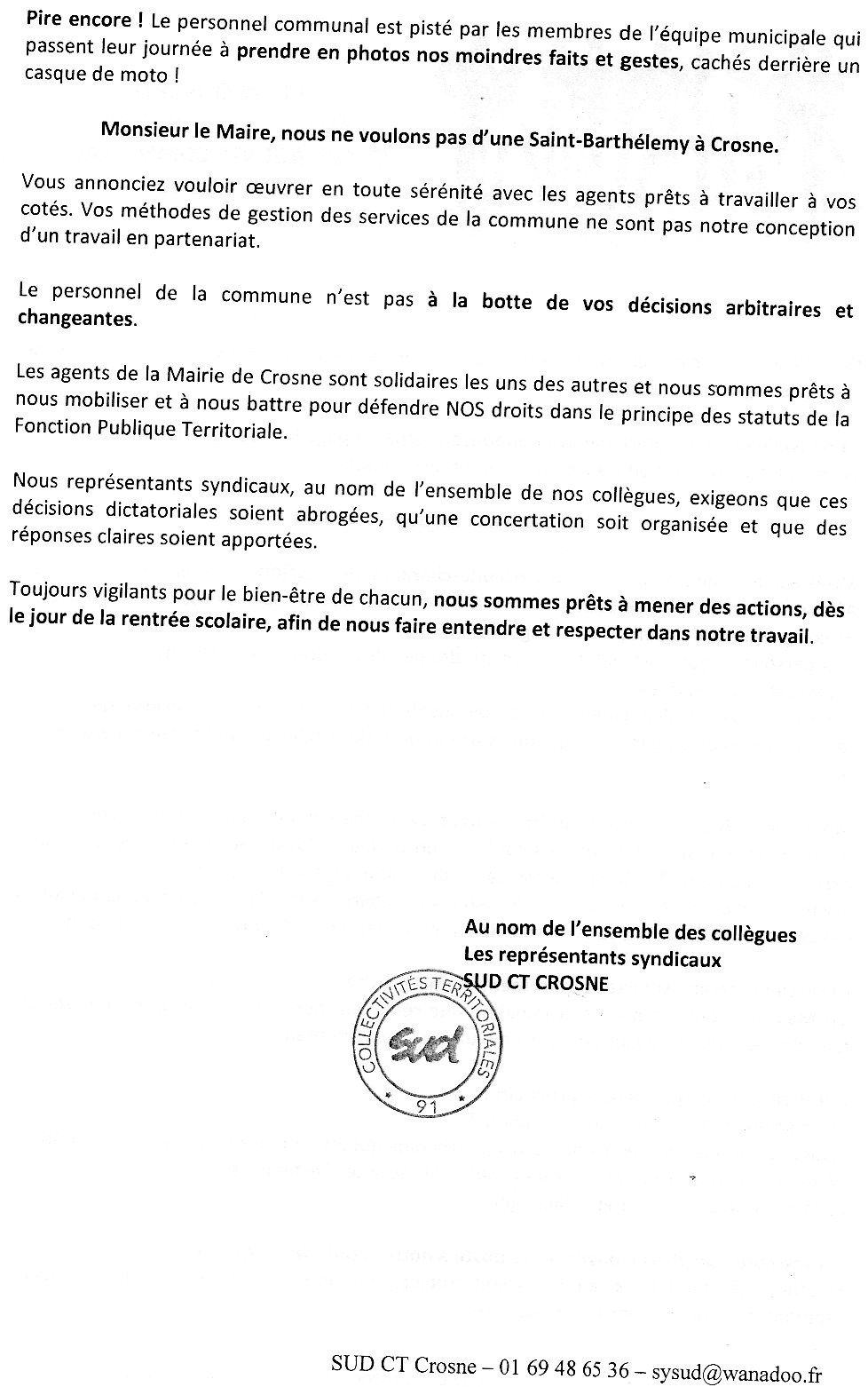Lettre ouverte aux élus diffusée par le syndicat SUD