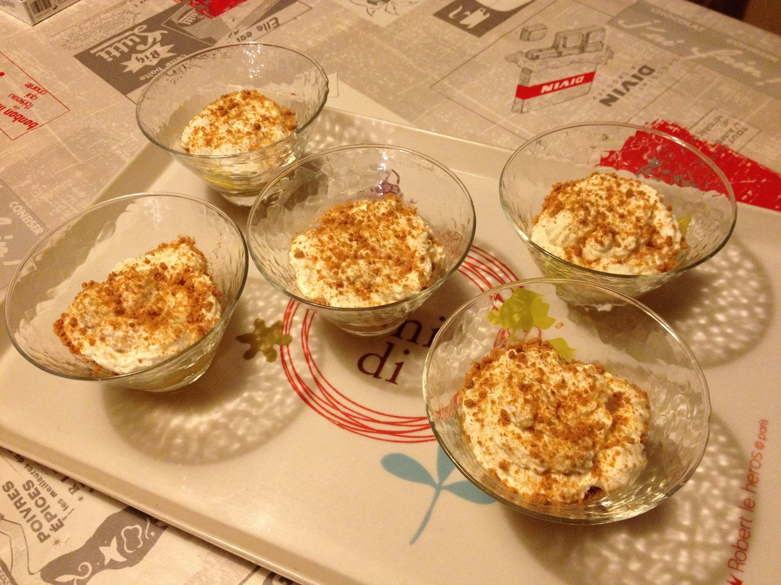 Verrine mangue speculoos et chantilly au mascarpone
