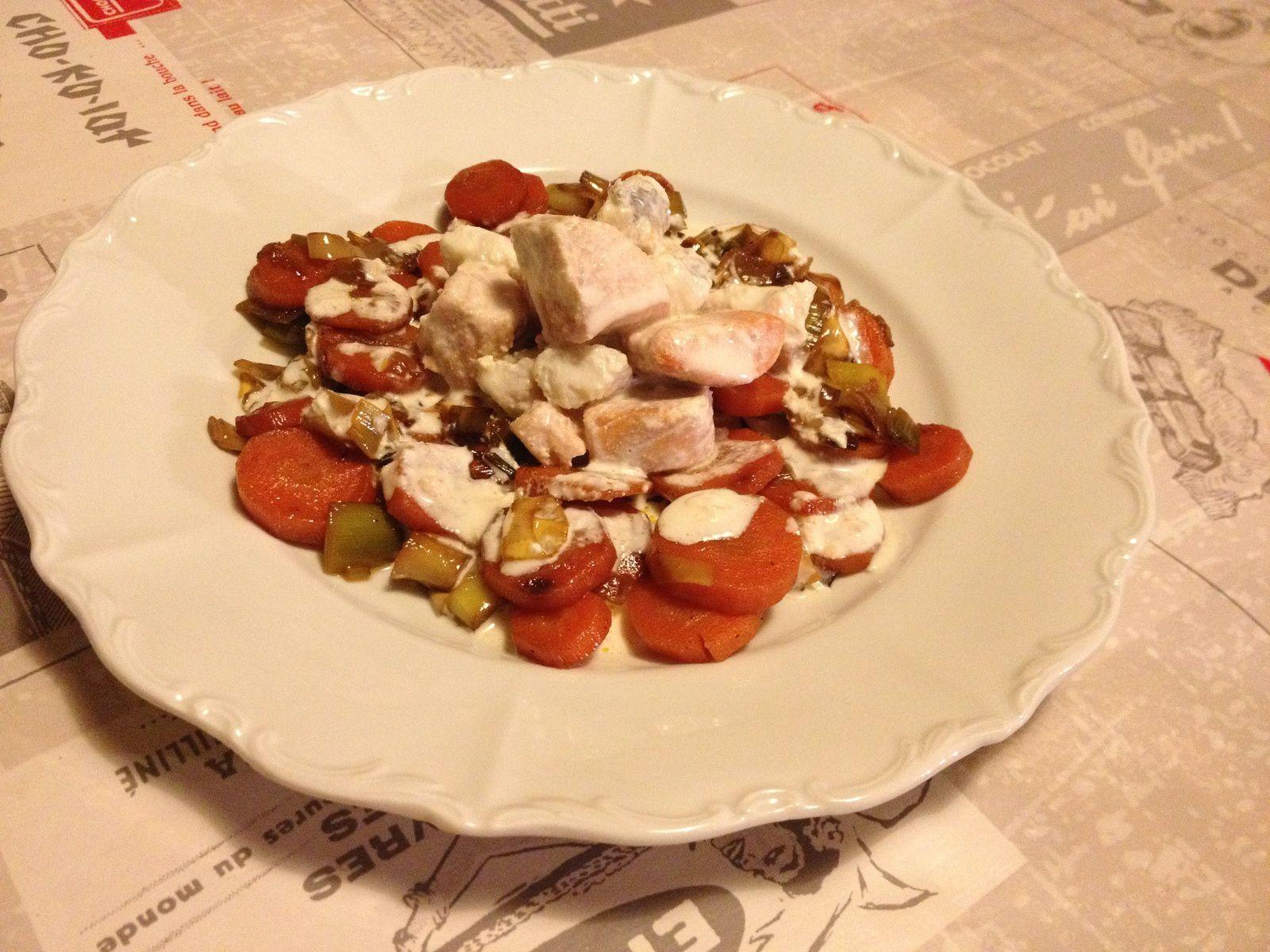Lotte et saumon au combava et ses petits légumes caramélisés
