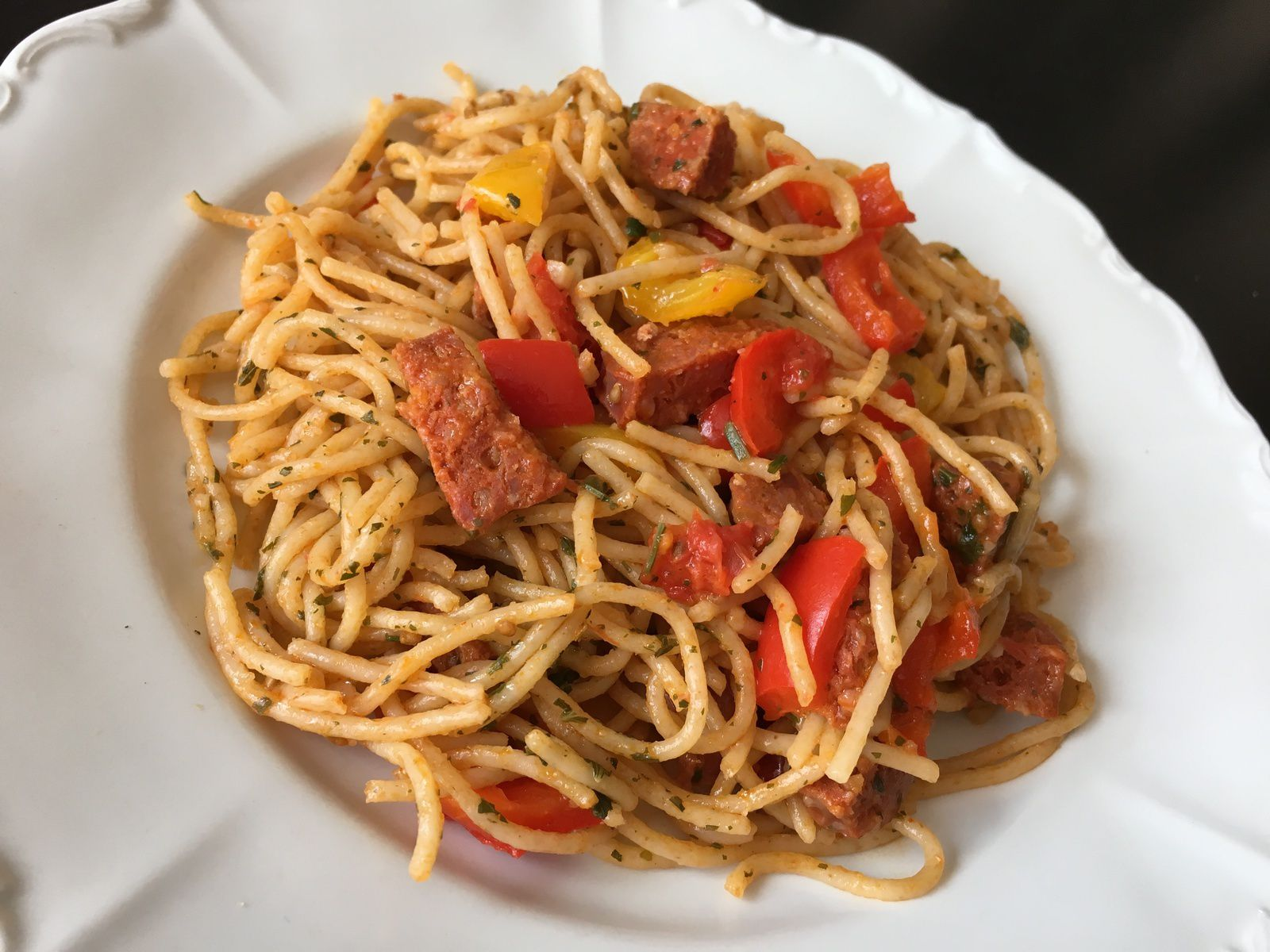 One pot pasta poivron chorizo