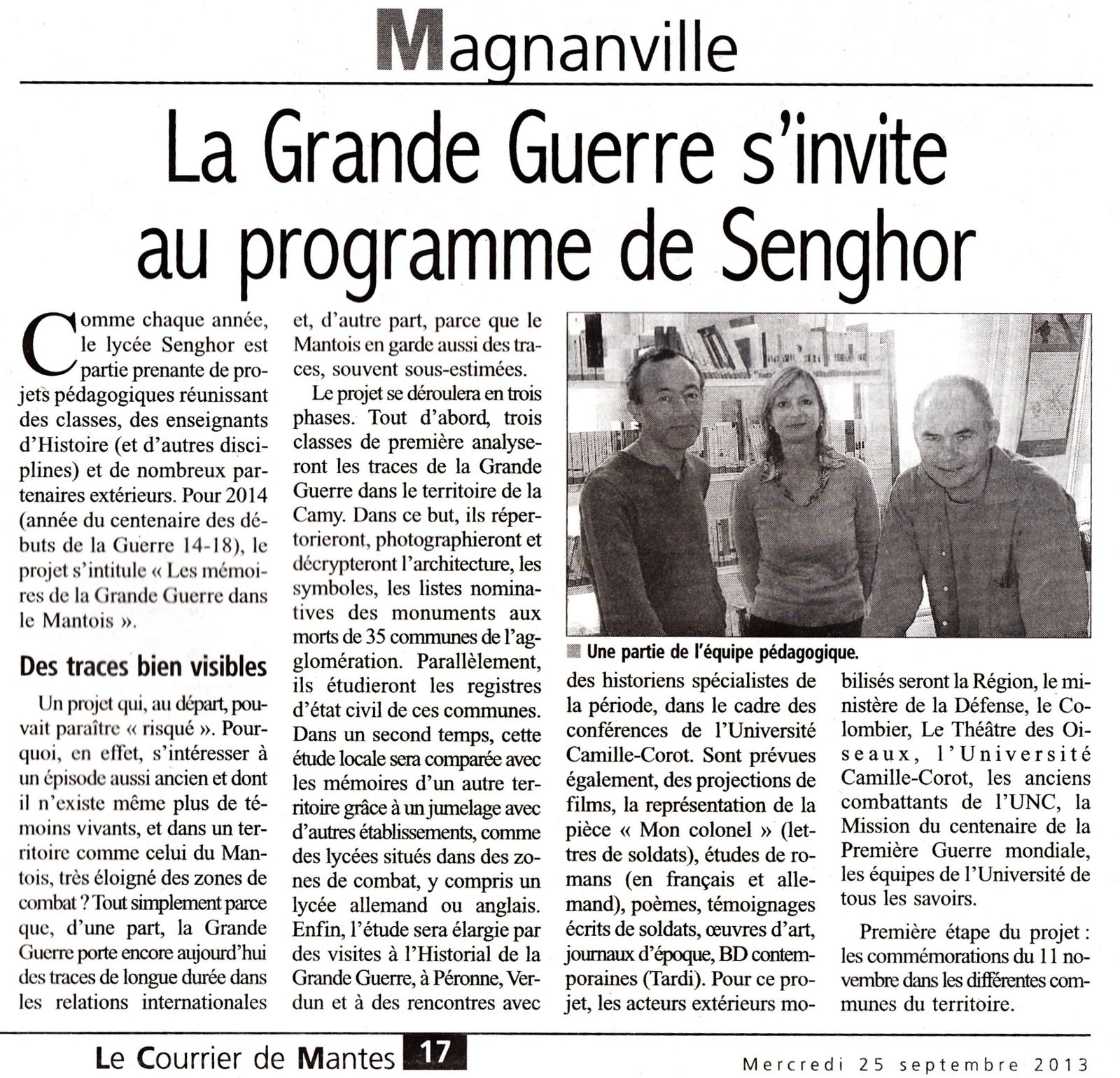 Article du &quot&#x3B;Courrier de Mantes&quot&#x3B;