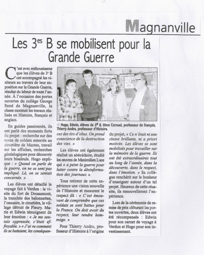 "Article paru dans le ""Courrier de Mantes"""