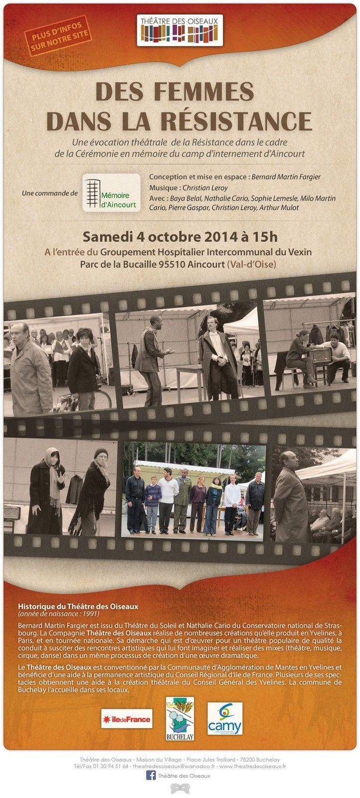 Théâtre à Aincourt sur le Résistance le 4  octobre