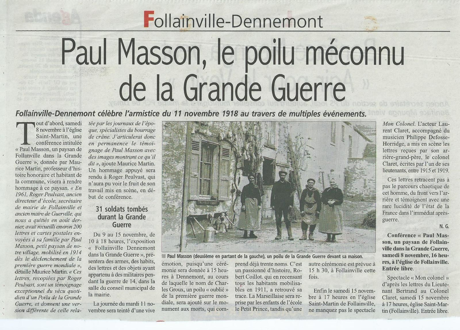 "Un article du ""Courrier de Mantes"""