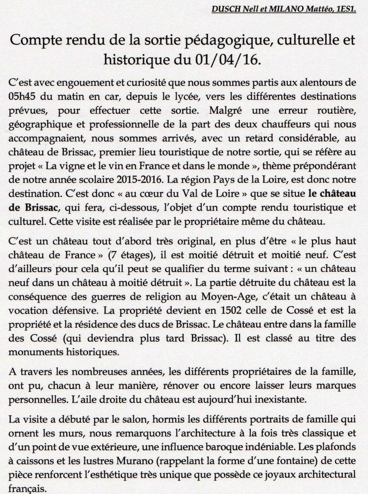 CR de la sortie dans la Loire ,suite