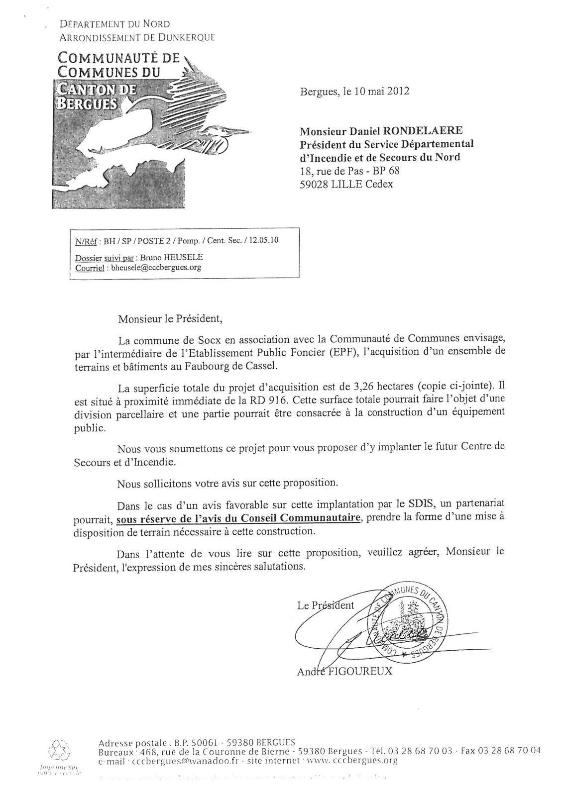 CIS : (Centre d'Incendie et de Secours) de Bergues.