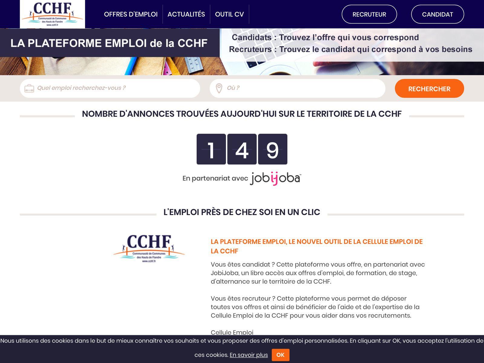 149 offres d'emploi sur le site de la CCHF.