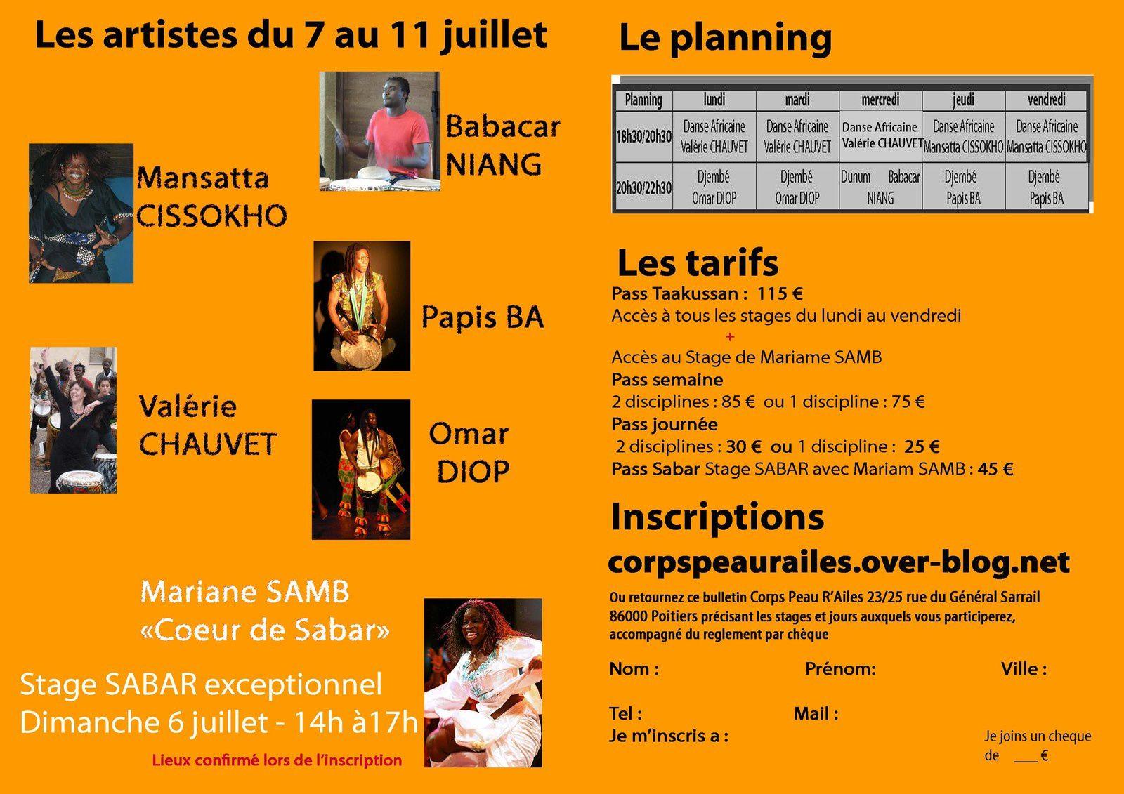 programme du stage d'été aux Iles de Payré danses africaines et Percussions, Djembé, Près de Poitierss