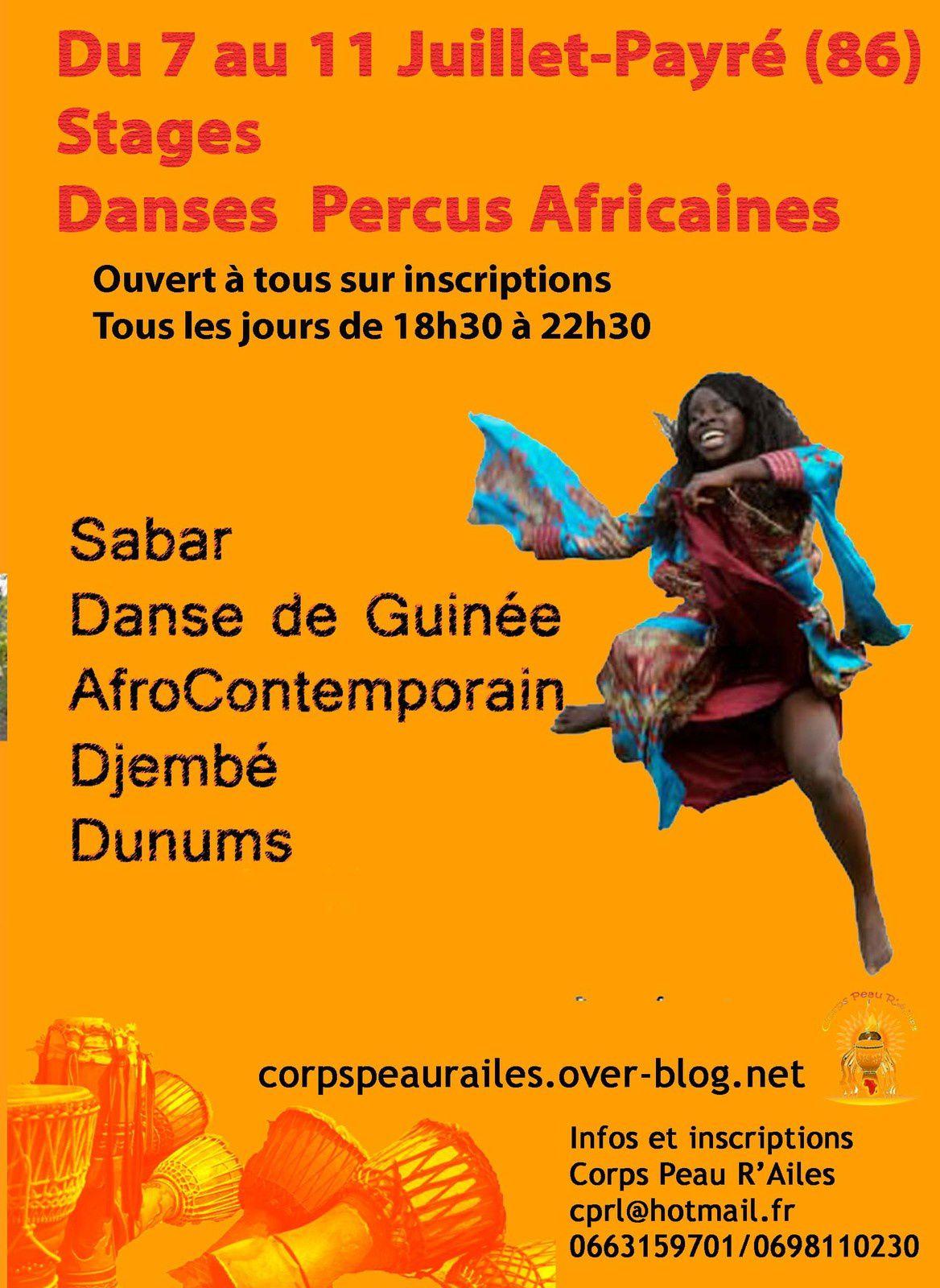 stage d'été danses et percussions africaines à 20 minutes de Poitiers avec Corps Peau R'Ailes