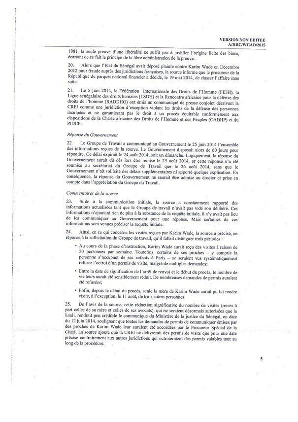Intégralité de l'AVIS de l'ONU sur les détentions arbitraires du procès Karim Wade