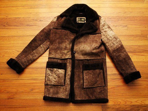 Mens Vintage Sheepskin Ranch Coat - Genuine Leather Sheepskin Coats