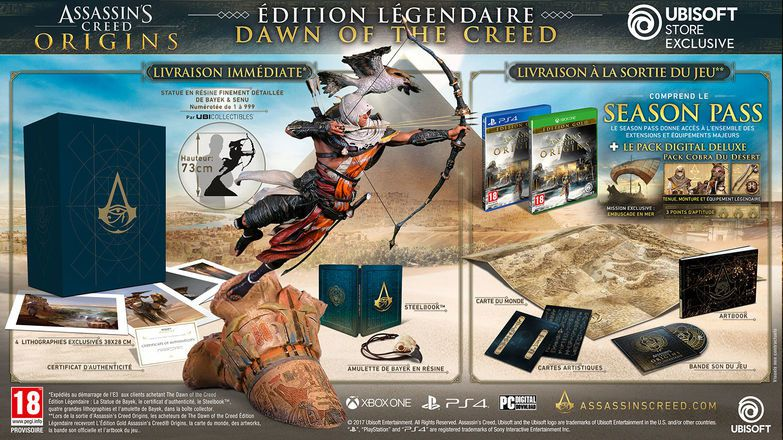 #E32017 Les Editions collector d'Assassin's Creed Origins !