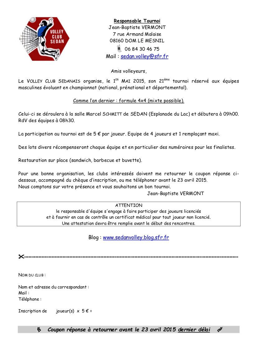 Invitation Tournoi Sedan 2015