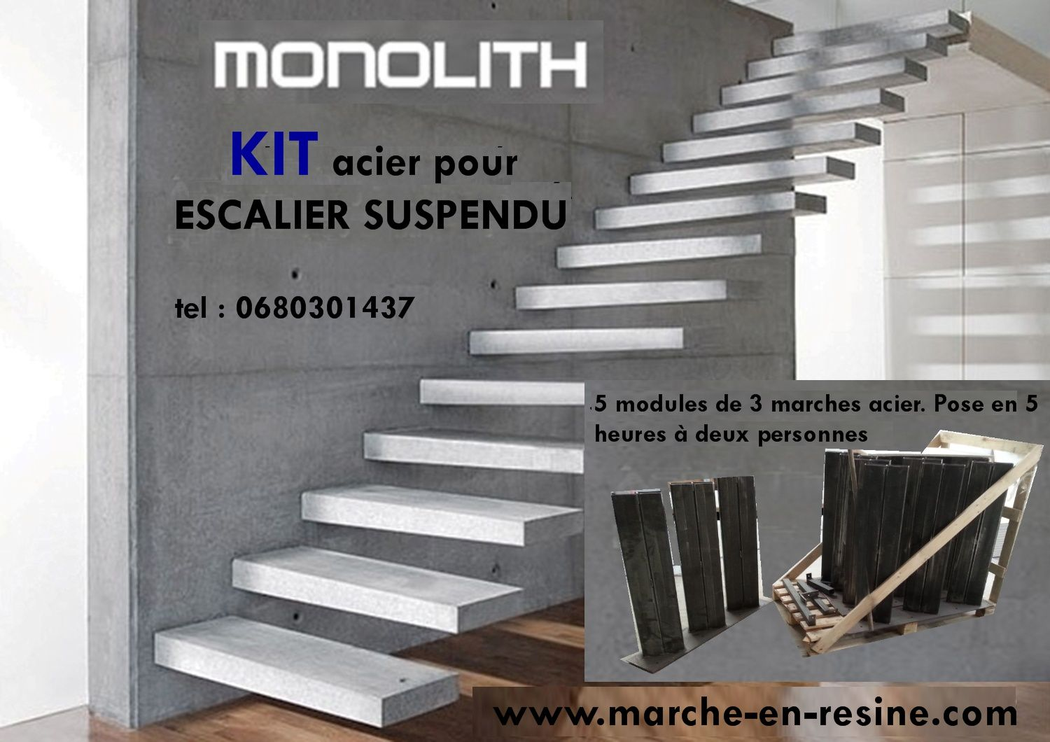 escalier suspendu en kit marches. Black Bedroom Furniture Sets. Home Design Ideas