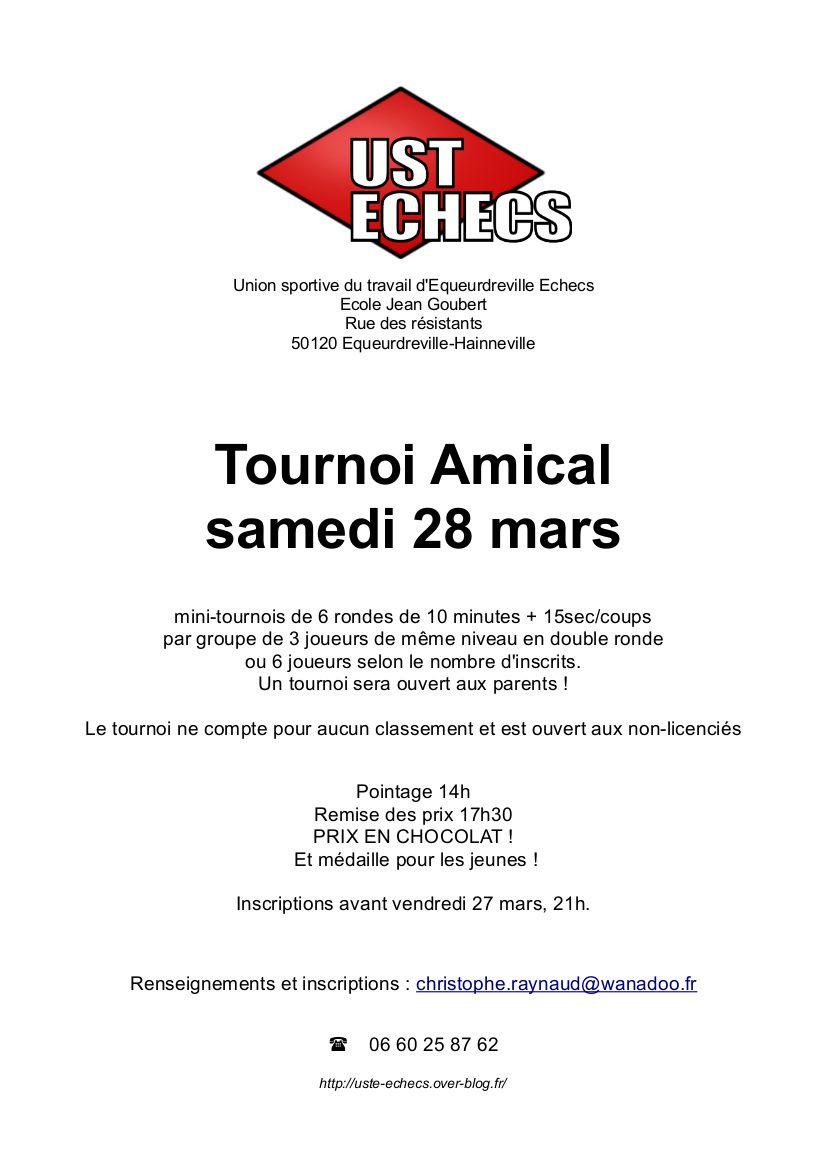 Tournoi amical samedi 28 mars