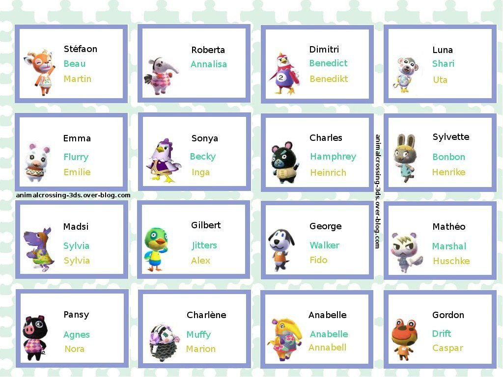 Souvent Les noms des résidents (anglais/allemand) : - Animal Crossing New Leaf KR59