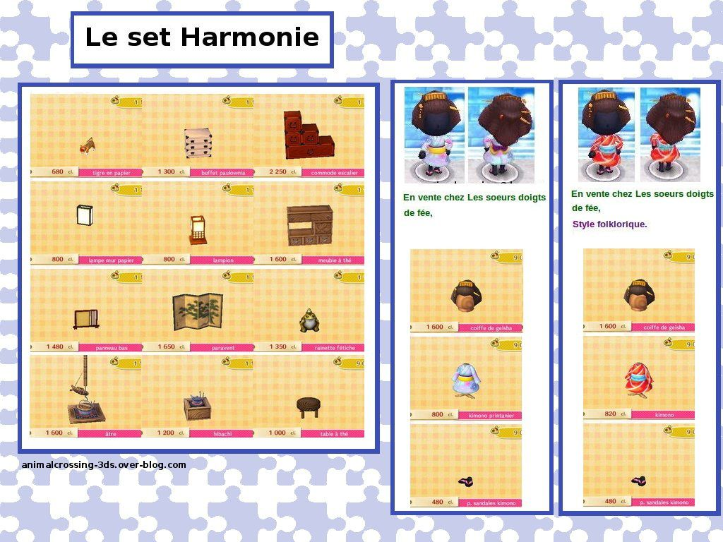 le set harmonie animal crossing new leaf. Black Bedroom Furniture Sets. Home Design Ideas