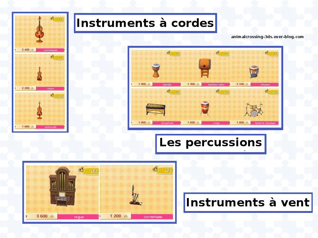 La liste des instruments de musique animal crossing for Instruments de cuisine liste