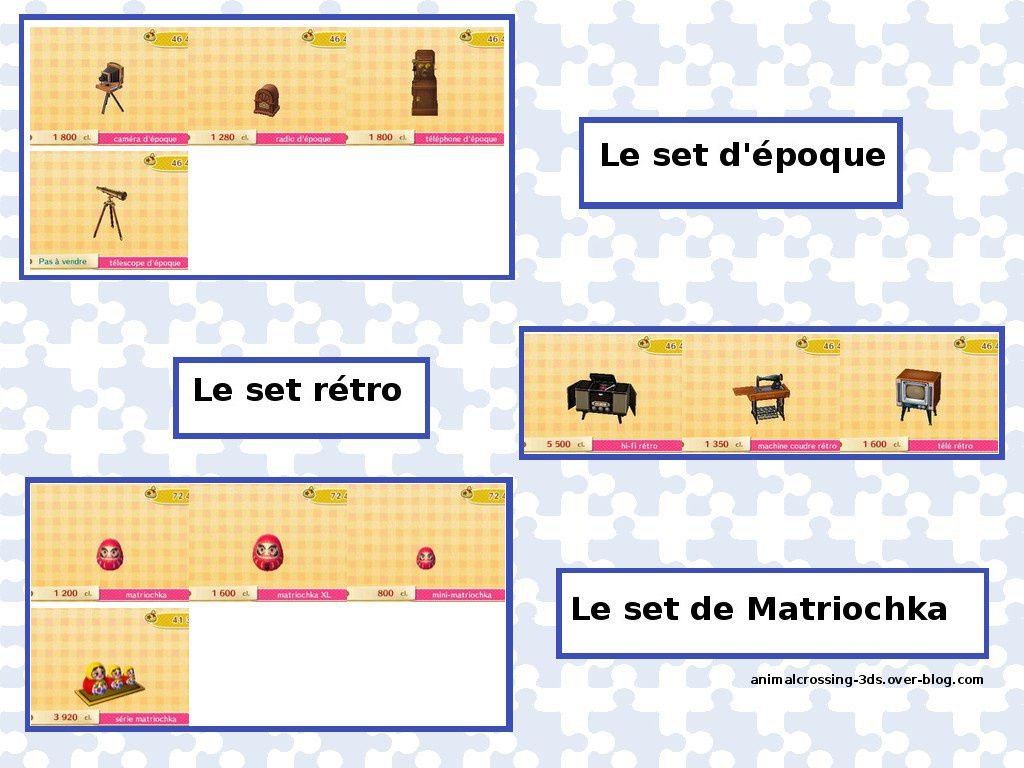 Le set d'époque, le set rétro, le set Matriochka