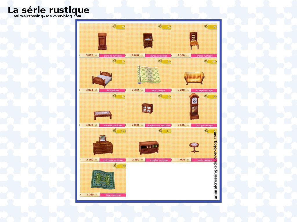 s rie rustique animal crossing new leaf. Black Bedroom Furniture Sets. Home Design Ideas
