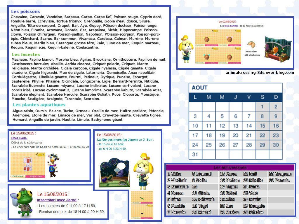 Le calendrier des évènements 2015 :