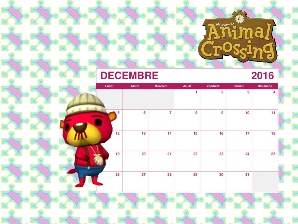 calendrier 2016 animal crossing new leaf. Black Bedroom Furniture Sets. Home Design Ideas