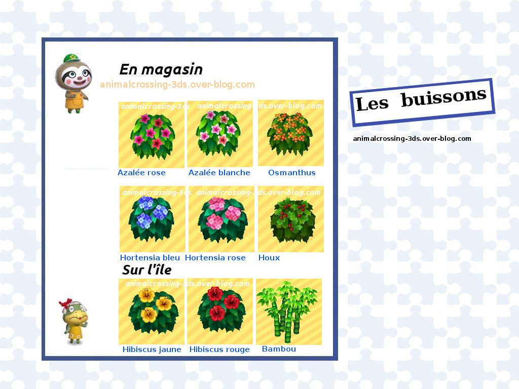 Les Fleurs Et Les Buissons Animal Crossing New Leaf