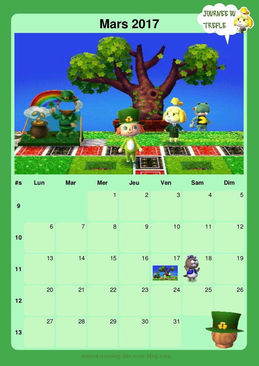Calendrier 2017 imprimer animal crossing new leaf - Calendrier lunaire de mars 2017 ...