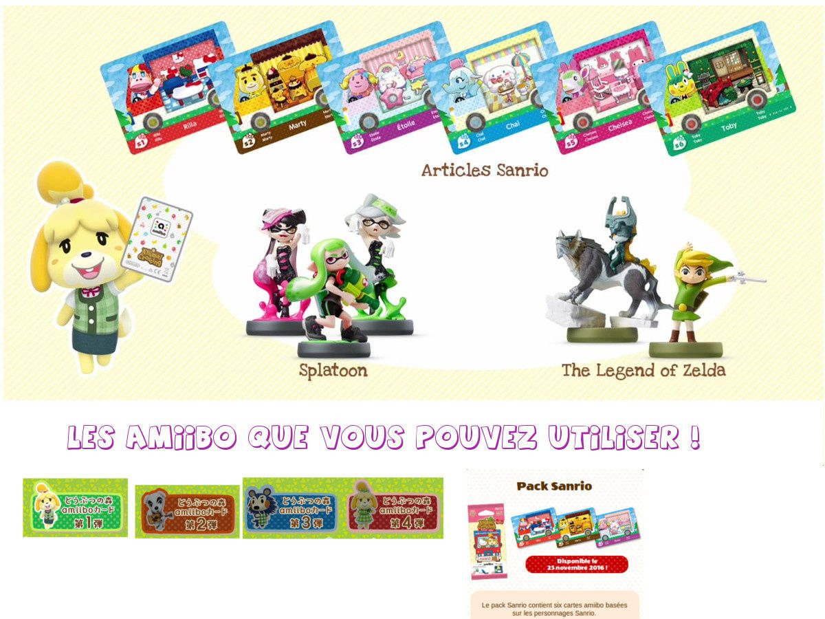 Figurines Amiibo ACNL, cartes Amiibo 1,2,3,4, Cartes Sanrio, Figurines Zelda, Figurines Splatoon.