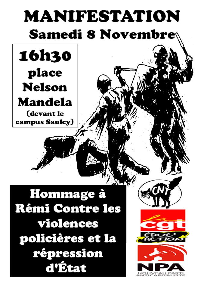 Hommage à Rémi contre les violences policières et la répression d'Etat