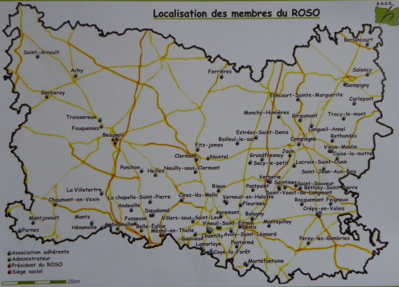 Carte d'implantation du ROSO