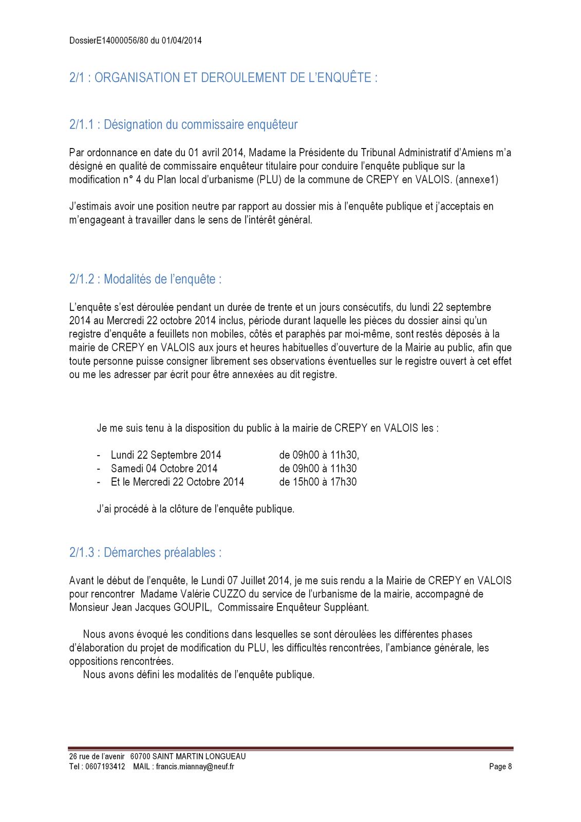 Rapport du commissaire enquêteur concernant la modification n°4 du PLU de Crépy en Valois